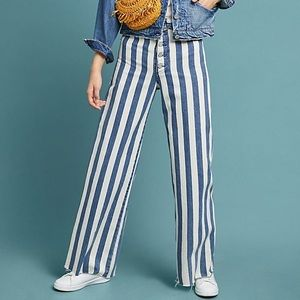 Anthropologie High-Rise Striped Wide-Leg Jeans